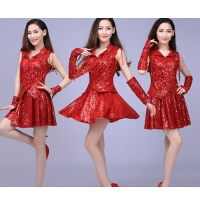 Gold yellow red royal blue sequins paillette women's ladies female stage performance competition jazz hip hop singer ds dj dance costumes outfits