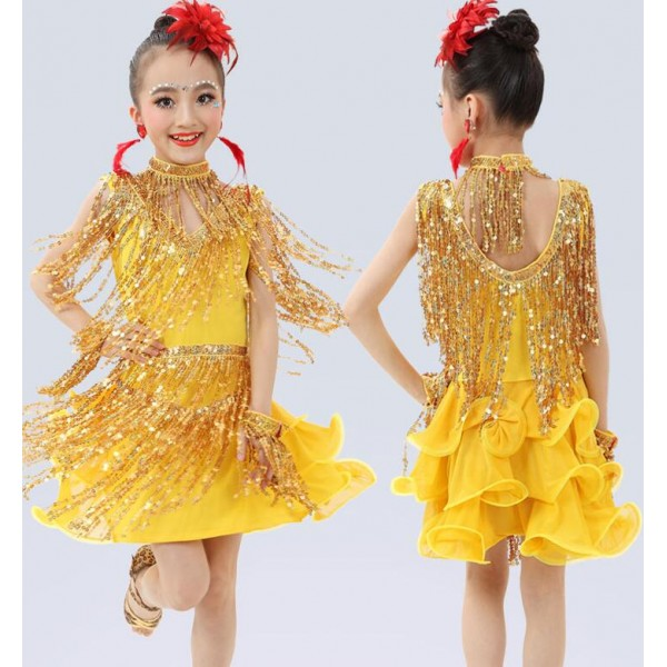 f06568af76f4 Gold yellow sequins girls kids children performance competition school play  latin salsa cha cha dance dresses