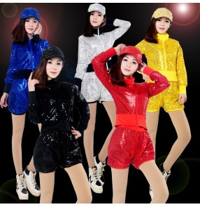 Gold yellow silver black red royal blue sequins women's girls performance modern dance jazz hip hop dance costume outfits
