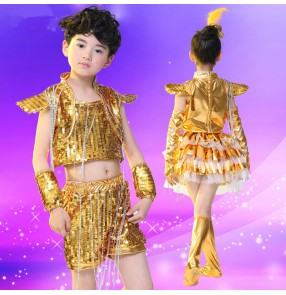 Gold yellow silver green royal blue sequined paillette boys kids child children kindergarten modern dance school play show jazz dance hip hop dance outfits costumes