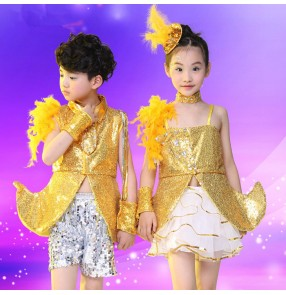 Gold yellow silver royal blue sequins paillette  boys kids children girls baby school play modern dance jazz dj ds singer hip hop drummer performance dance costumes outfits dancewear