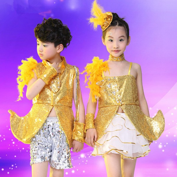 182ca0d2fbc3 Gold yellow silver royal blue sequins paillette boys kids children ...