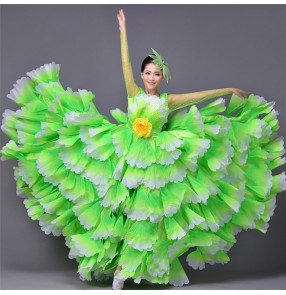 Gradient Fuchsia hot pink neon green women's ladies female big swing hem 540 degrees flower flamenco spanish folk dance bull dance opening dance chorus dance costumes dresses