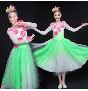 Gradient  light pink colored long sleeves women's ladies flamenco modern dance opening chorus performance dance dresses outfits