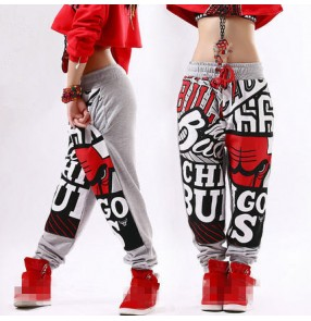 Graffiti pattern cotton gray black  loose fashion women's men's jogging sweatpants stage performance hip hop jazz dancing  dance harem pants trousers