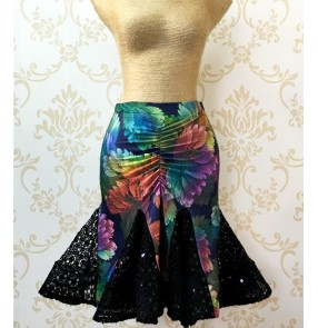 Green blue  violet floral printed and black patchwork women's ladies fashion competition latin salsa samba flamenco dancing skirts