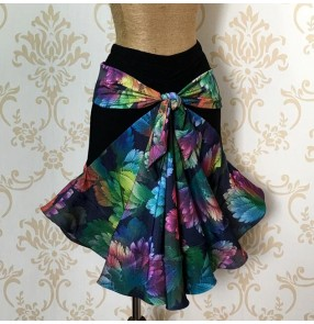 Green blue violet floral printed draw string bowknot front women's ladies female fashion competition performance flamenco latin samba salsa dance skirts