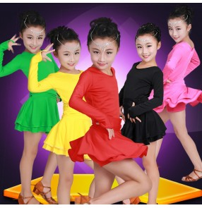 Green fuchsia hot pink red yellow black long sleeves microfiber spandex girls kids children competition school play latin cha cha dance dresses costumes skirts