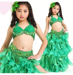 Green hot pink fuchsia white yellow gold sequins rhinestones girls children stage performance school play competition belly dance dresses outfits for kids