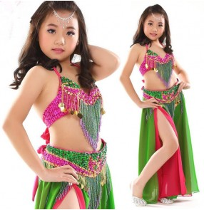 Green rainbow colored orange blue patchwork chiffon girls kids children performance competition high quality belly dance dresses outfits