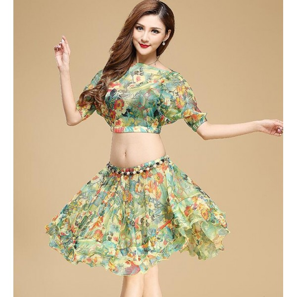 e7c1ad5395c1 Green red turquoise blue floral printed women's ladies fashion sexy  competition stage performance professional belly dance costumes outfits  sets dance wear( ...