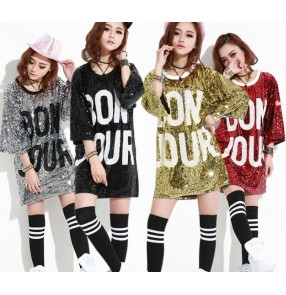Green silver gold black red sequins paillette loose long style fashion stage performance hip hop jazz singer dance cos play dancing tops t shirts