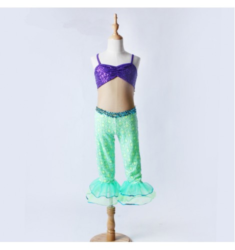 40468bc537c9e Green violet purple sequins paillette patchwork girls kids children  leotards modern dance jazz cos play mermaid performance bodysuits outfits