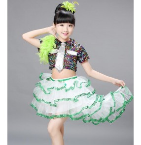 Green white Sequins girls kids children toddlers school play show modern dance jazz dance performance dresses  cos play outfits