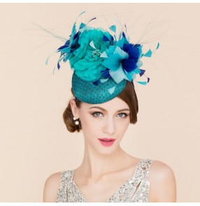 Handmade 100% linen sinmay Turquoise peacock blue flowers fashion women's ladies top pill box wedding bridal evening party church fascinators hats fedoras