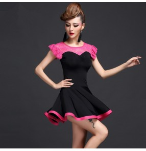 Hot pink black royal blue patchwork lace sleeveless turtle neck women's ladies latin salsa cha cha dance dresses