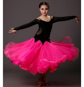 Hot pink fuchsia green black patchwork long sleeves v neck girls kids children performance competition school play long length ballroom dancing outfits full  dresses costumes