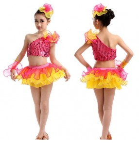 Hot pink fuchsia yellow patchwork sequined girls kids children modern dance performance jazz dance school play dance outfits costumes