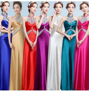 Hot pink gold champagne royal blue green violet red rhinestones women's female halter neck backless A line long length wedding party evening bridesmaid host performance dresses vestidos for ladies