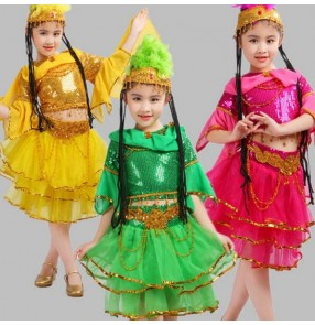 Hot pink yellow gold green sequined paillette girls kids children modern dance Egypt  Indian belly performance dance dresses outfits costumes