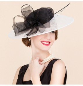 Ivory black patchwork sinamay linen handmade luxury event wedding party bridal bride large brim evening dresses church hats sun hats fedoras