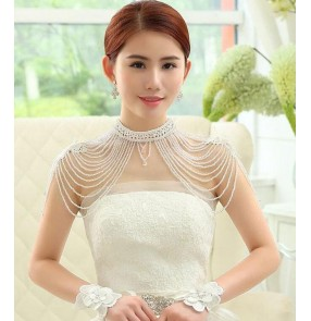 Ivory Fashion Tassels layers women's ladies female diamond crystal wedding party evening party bridal shoulder jewelry chain necklace cape necklace  dress accessories
