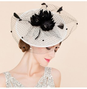Ivory sinamay  linen feather women's ladies female fashion wedding dress bridal evening party fascinators pillbox top hats fedoras