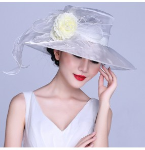 Ivory white colored organza material handmade large brim women's ladies female fashion wedding bridal Kentucky church evening party dresses sun fedoras hats  accessory