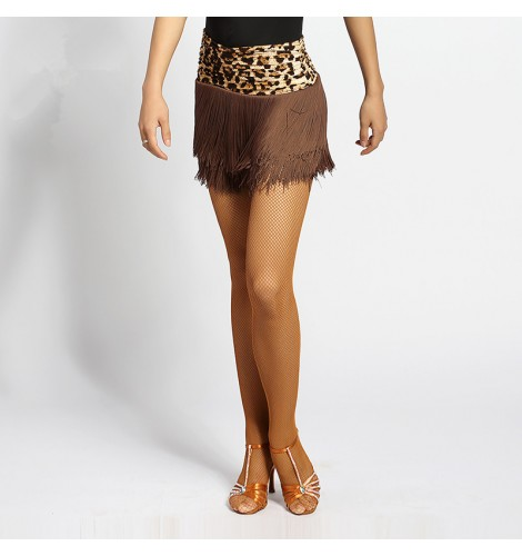 42e3966152c72 Leopard brown coffee patchwork fringes women's female short performance  leotard latin competition salsa dance skirts for ladies …
