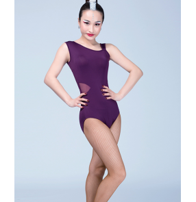 Leopard violet purple black one inclined shoulder women's ladies female competition performance latin ballroom dance leotard tops catsuits bodysuit
