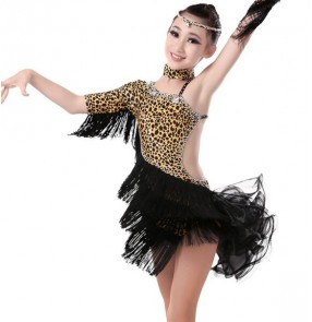 Leopard zebra printed fringes rhinestones girls kids children competition professional performance latin dance dresses dancewear