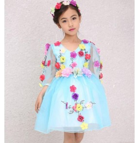 Light blue beige flowers girls children kids  princess stage performance school play  modern dance jazz dance dresses outfits costumes