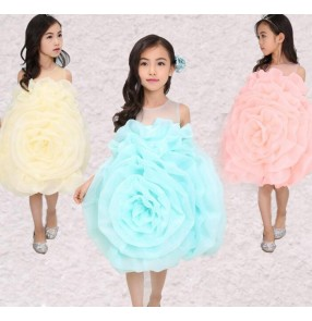 Light blue light yellow light pink rose flowers girls kids children toddlers modern dance party princess cos play school play dresses outfits costumes