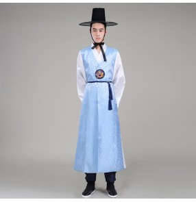 Light blue navy men's male long length traditional hanbok korean palace wedding  party cos play performance dance costumes dresses