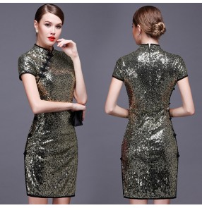 Light gold silver sequins short sleeves cheongsam short length fashion women's ladies  bridal wedding party evening dresses vestidos