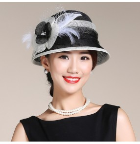 Light pink black ivory  handmade women's ladies female fashion sinamay linen patchwork short brim cheap church evening party bridal competition performance sun hats fedoras