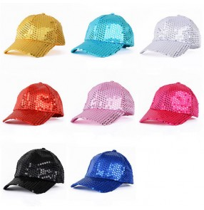Light pink fuchsia hot pink gold royal blue turquoise gold black red sequins girls women's jazz hip hop singer dancing  performance peaked cap hats
