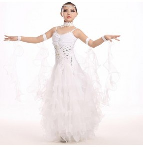 Light pink green red white strap backless girls kids children rhinestones competition performance ballroom tango waltz dance dresses outfits