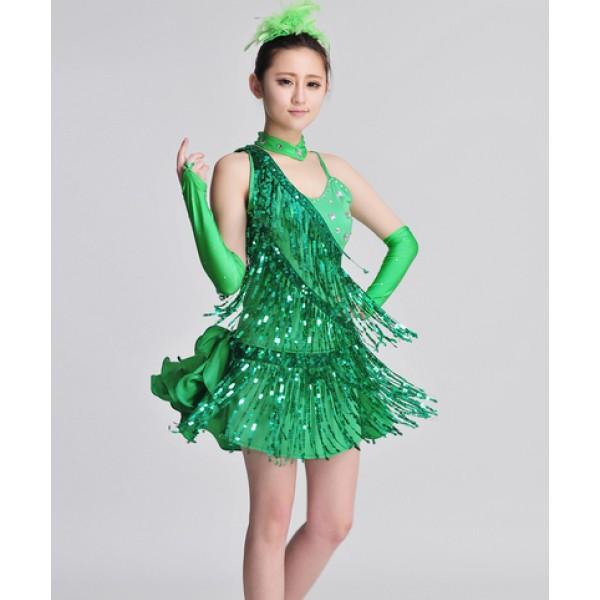 8807b570dc55e Light pink green rhinestones one shoulder sequins fringes tassels girls  kids children women's adult performance competition latin dance dresses