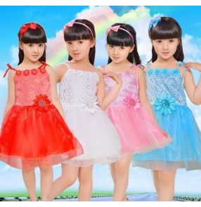 light pink light blue yellow red white sequined kindergarten girls kids child school play  performance stage jazz dance modern dance princess dance dresses outfits