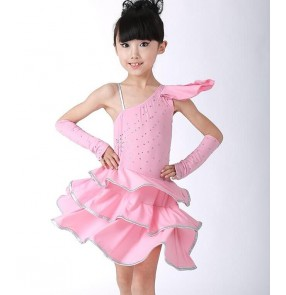 Light pink turquoise light blue gold yellow black one shoulder with glove rhinestones girls kid child toddlers professional gymnastics latin salsa cha cha  leotard dance dresses