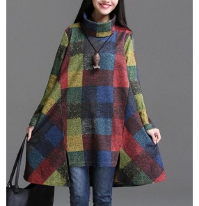 Navy blue plaid patchwork printed turtle neck long sleeves linen cotton material vintage loose style women's ladies female autumn spring winter new fashion dresses tops vestidos