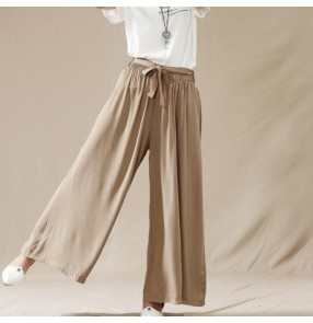 Navy dark blue army green black khaki colored linen long length women's fashion casual plus size wide leg loose swing bloomers pants trousers