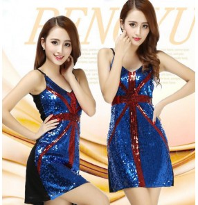 Navy gold red sequines vest tank sleeveless girls women's performance jazz modern dance costumes outfits dresses
