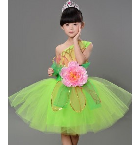 7938319b4633 Neon Green and white flower girls kids child children toddlers modern dance  spring stage performance costumes
