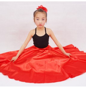 Neon green black blue red light pink hot pink fuchsia girls kids children stage performance school play ballroom flamenco dance skirts