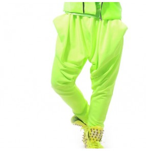 Neon green fluorescent  green loose drop crotch men's mans male  hip hop performance club bar punk rock jazz casual bloomers harem pants trousers
