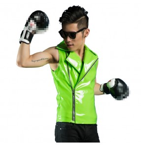 Neon green fluorescent  pu leather motorcycle style fashion jazz hop punk rock performance singer dance vest  short coat  tops