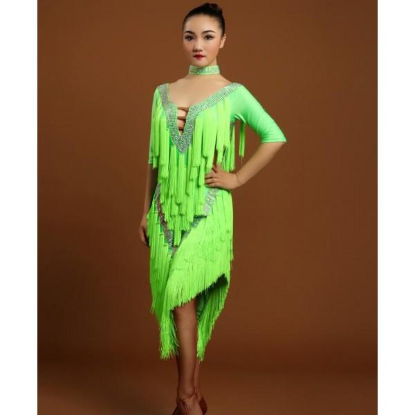 4e692bda03714 Neon green fringes backless women's ladies female competition rhinestones  performance professional v neck latin dance samba salsa cha cha dresses  outfits