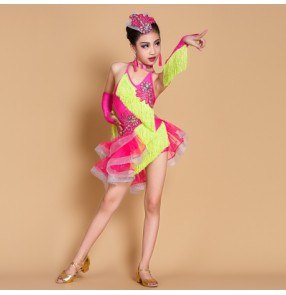 Neon green fuchsia hot pink patchwork girls kids children competition performance latin salsa dance dresses with gloves